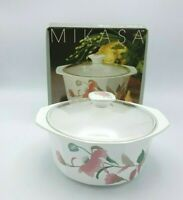 Mikasa Fire & Ice SILK FLOWERS ROUND COVERED CASSEROLE DISH #AA009 2 1/2 QT.RARE
