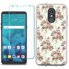 TPU Phone Case for LG Stylo 5 w/ Tempered Glass - Floral/Rose