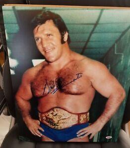 BRUNO SAMMARTINO WWF WWE HOF LEGEND SIGNED AUTOGRAPH 16X20 PHOTO W/ PSA COA