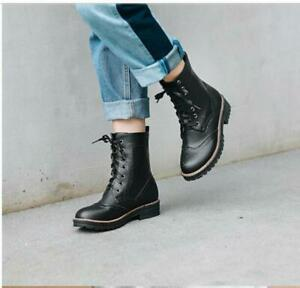 Women's Lace Up Punk Shoes Round Toe Block Chunky Heels Combat Motorcycle Boots