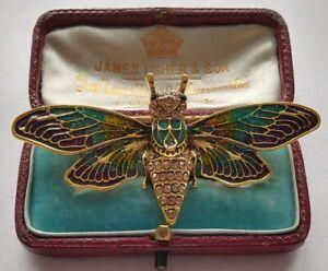 Fabulous Diamante CRYSTAL Fine ENAMEL Art Nouveau Style CICADA MOTH Brooch