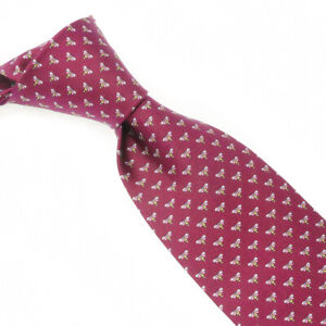 NWT Salvatore Ferragamo Made in Italy All Silk Maroon Honeybees Tie