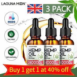 Lagunamoon Hemp Seed Oil Drops for Pain Relief, Stress, Sleep Pure 1000/240000MG