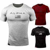 ALPHA Men Gym T-Shirt Muscle Sports Fitness Fit Tee Workout Top Athletic Clothes