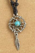 Dream Catcher Pendant adjustable black cord Necklace Pewter Native American 45mm