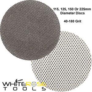 Silverline Sanding Discs 10pc Hook & Loop Mesh Sand Paper 115-225mm 40-180 Grit