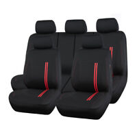 Universal Sporty Full Set Car Seat Covers Red Breathable Split Rear 40/60 50/50