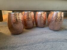 Set Of 4 Moscow Mule Hammered Copper Walled Tumbler Never Used