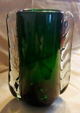 Vintage Deco Emerald Green Murano Art Glass Vase, Clear Edges Handblown