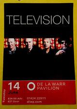 Television Concert Promo Tour Flyer 14/06/16 De La Warr Pavilion A5 Colour Rare!