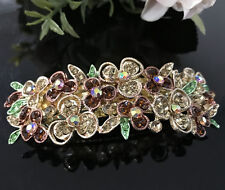 Hot USA seller beautiful silver tone rhinestone crystal hair clip barrette 1212
