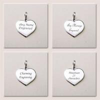 Heart Charm Real Sterling Silver Can be Engraved Any Wording / Message / Dates