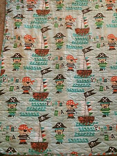 Cute Pirate Quilt Light Weight Blue Teal Orange Brown No Spots or Tears