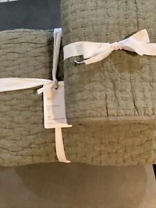 pottery barn pick stitch twin quilt +  sham loden # 2001