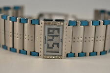 New Ladies Sharp S12 Digital Steel Blue Silver Unique Flip Feature Watch