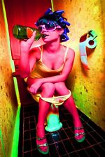 GIRL IN TOILET DRINKING COLOURFUL TRIPPY Canvas Box or Poster Print Wall Art