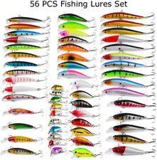56pcs Mixed Minnow Fishing Lures Bass Baits Crankbaits Fish Hooks Tackle Us