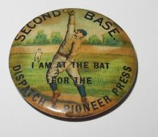 1896 PD1 Baseball Player 2B Position Dispatch Pioneer Press Advertising Coin Pin
