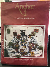 Brand New! ANCHOR Snowman and Bears Calendar Counted Cross Stitch Kit