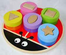NEW ANIMAL SHAPE SORTER WOODEN PUZZLE COLOURFUL BLOCKS BABY TODDLER ACK LADYBIRD