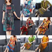 Ethnic Women Vintage Boho Silk Floral Slimming Party Cocktail Kaftan Shift Dress