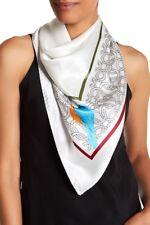 Elizabeth Roberts Women's White Multi Square Bird Print Silk Scarf