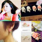Fashion Korean Style OL Rose Flower Crystal Rhinestone Pearl Stud Earrings NEW