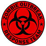 "Zombie Outbreak Response Team Red Cool Vinyl Car Sticker Decal 4"" x 4"""