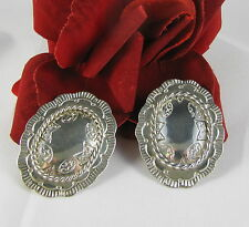 Sterling Silver Taxco Mexico 26g Concho Clip on  Earrings FERAL CAT RESCUE