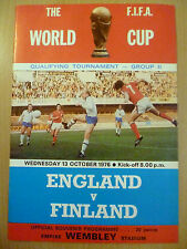 1976 World Cup Qualifying Tournament ENGLAND v FINLAND 13 October Group II