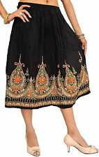 Womens Indian Wear Casual Short Skirt Ladies Traditional Wrap Around Black Skirt