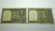 1940 and 1951 King George VI 1 Rupee Bank Notes India Paper Money
