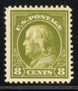 1912 US 414 8c Olive Green Benjamin Franklin - Perf 12 MNH OG NH XF