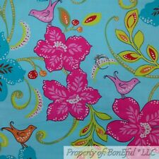 BonEful FABRIC FQ Cotton Quilt Aqua Blue Pink Large Flower Bird French Country L