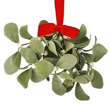 "Artificial Hanging Mistletoe Bundle w/Red Bow 10"" Christmas Holiday Floral Home"