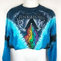 Pink Floyd Prism River Cropped Tie Dye T-Shirt XL Long Sleeve Liquid Blue