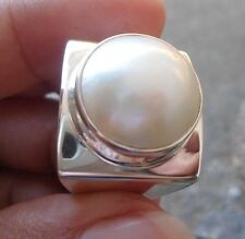 925 Sterling Silver-LH16-Bali Hand Made Ring Box Style With Mabe Pearl Size 9