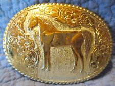 Awesome Hand Made STANDING HORSE Crumrine Nobel Oklahoma Belt Buckle MAKE OFFER