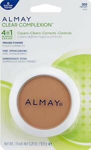 Almay Clear Complexion Pressed Powder. 4 in 1 Blemish Eraser. MEDIUM 300