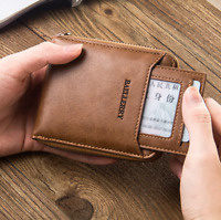 Men's Genuine Leather Cowhide Bifold Wallet ID Credit Card Holder Coin Purse