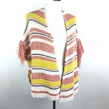 Jessica Simpson Womens Size Medium Pink Yellow Striped Knit Open Cardigan