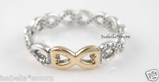 INFINITY LOVE Authentic PANDORA Silver/14K GOLD/ Clear ZIRCONIA Ring 6~52 NEW