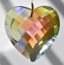 Heart 50mm Crystal Ab Matrix Faceted Prism Pendant SunCatcher 2 inch