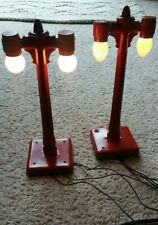 Vintage Metal O Scale Double Lighted Lamps (Set of 2)