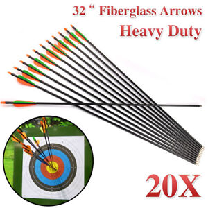 "20 x 32"" FiberGlass Arrows Archery Hunting Compound Bow Fiber Glass NEW"