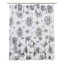 JOSEPHINE BLACK Shower Curtain Floral Voile Ruffled Cotton French Country 72x72