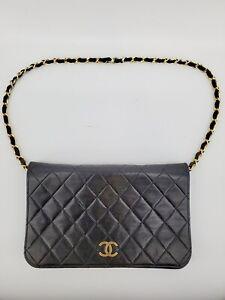 Vintage Chanel Black CC WOC Wallet On Chain Gold Shoulder Bag Clutch Gold 10855