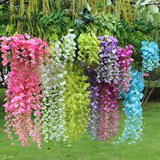 12pcs Artificial Wisteria Fake Garden Flowers Vines Hanging Outdoor Home Decor