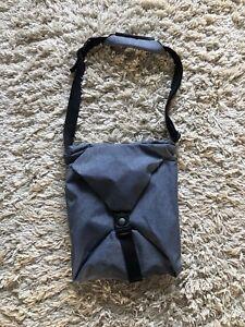 Cote & Ciel Bluey Grey Coated Nylon Laptop Messenger Cross Body Shoulder Bag NEW