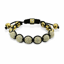 Gold Tone Pave Crystal Ball Shamballa Inspired Bracelet Black Cord String